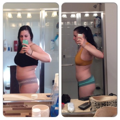 LEFT: The day I met with my nutritionist RIGHT: Jan 2, 2015 (One year of making changes to eating clean)